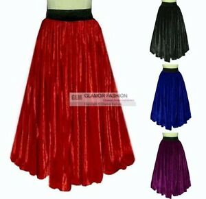 NEW-Full-Circle-Long-Skirt-Velvet-Skirt-XS-S-M-L-XL-XXL-3XL-GF0687V
