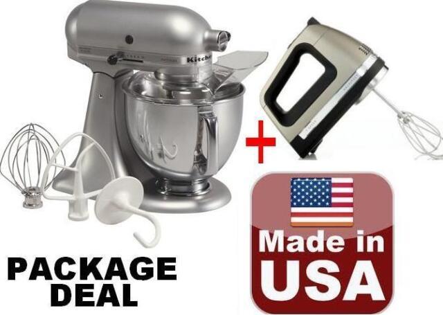 KitchenAid Stand Mixer Tilt 5 Quart Ksm150pssm Artisan Silver + Free Hand  Mixer