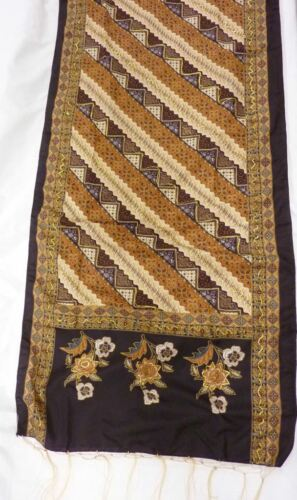 Gorgeous Boho Bali Ethnic Large Fringed Scarf Asian Floral diagonal stripe gold