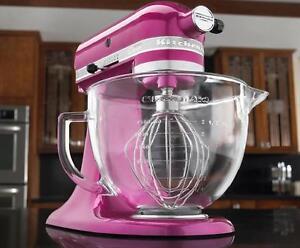 Kitchenaid Raspbery Ice Tilt Artisan Stand Mixer 5q Glass