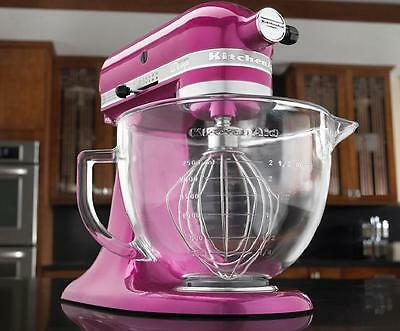 KitchenAid Raspbery ice Tilt Artisan Stand Mixer 5q Glass Bowl KSM155GBRI Purple