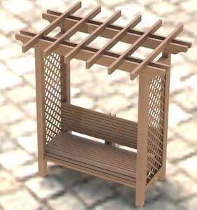 Garden Arbor Trellis with Bench Woodworking Plans Easy