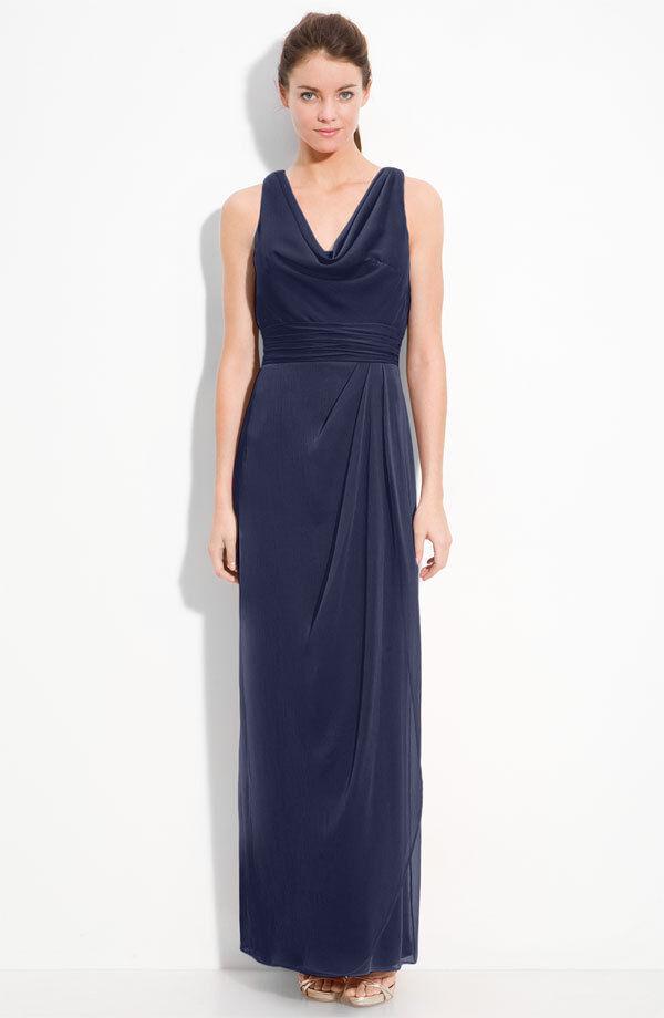 A Lela Rose Bridesmaid Sleeveless Crinkle Chiffon Navy Blue Gown Petite New
