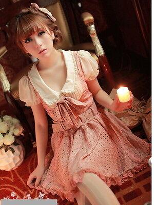 #25 Kawaii Princess Cute Sweet Dolly Gothic Lolita BOWs Floral Dress+Belt Pink