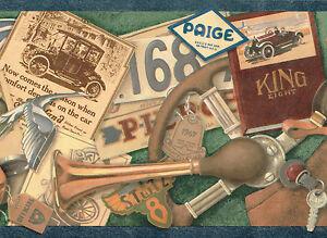 GLOVES-CAR-PARTS-KEYS-BOOKS-1917-STYLE-Wallpaper-bordeR-Wall-decor