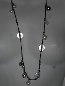 J Crew Black Knotted String Bauble Pearl Metallic Bead