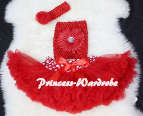 Newborn Baby Minnie Dot Waist Pettiskirt with Red Crochet Tube Top 3PC Set 3-12M