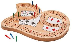 Cribbage-Set-3-Track-Wooden-29-Shaped-Board-Vintage-Family-Game-Rule-Peg-Storage