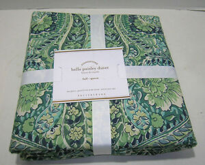 Pottery Barn Blue Bella Paisley Full Queen Duvet Cover New