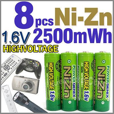 8 pcs 2500mWh 1.6V Volt AA NiZn Nickel Zinc Rechargeable Battery PowerGenix