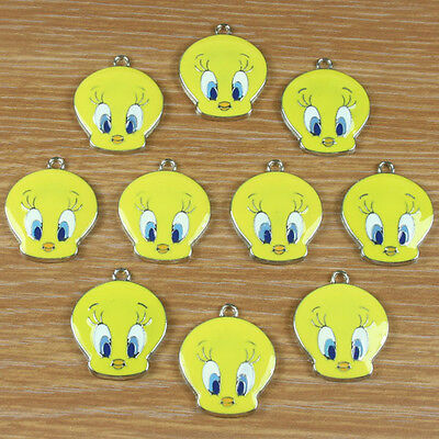 Lot 10pcs Tweety Bird Metal Charm Pendants Jewelry Crafts Making DIY Kids Gifts