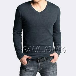 New-Mens-Slim-Fit-Cotton-Lycra-V-Neck-Long-Sleeve-Casual-T-Shirt-Tops-Fall-Sales