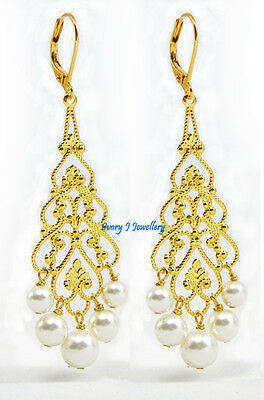 White Swarovski Pearl Chandelier Earrings Gold Plated