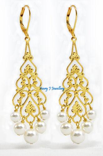 White Swarovski Pearl Chandelier Earrings Gold Plated