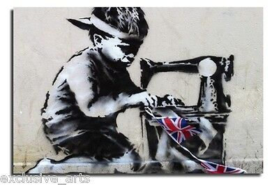 QUEENS JUBILEE SWEAT SHOP BOY BUNTING NEW BANKSY GRAFFITI WALL ART CANVAS PRINT