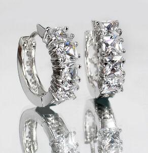 Princess-Cut-CZ-Sparkle-Gem-18K-White-Gold-GP-Hoop-Earrings-Huggies-Earrings