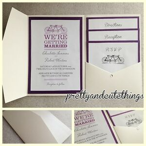 IVORY CREAM VINTAGE WEDDING INVITATIONS DIY POCKET FOLD ENVELOPES ...