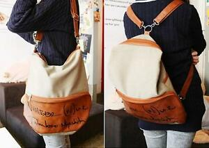 Korean-Lady-Girl-Canvas-PU-Leather-Hobo-Backpack-satchel-shoulder-bag-Free-Ship