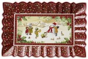 Villeroy-amp-Boch-TOY-039-S-FANTASY-Snowman-Rectangular-Cake-Plate-2223