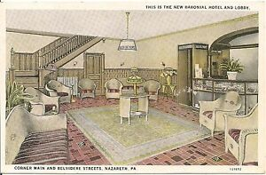 Image Is Loading Lobby Of Baronial Hotel Nazareth Pa Postcard