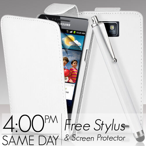 WHITE FLIP LEATHER CASE COVER & SCREEN PROTECTOR FOR SAMSUNG GALAXY S2 i9100