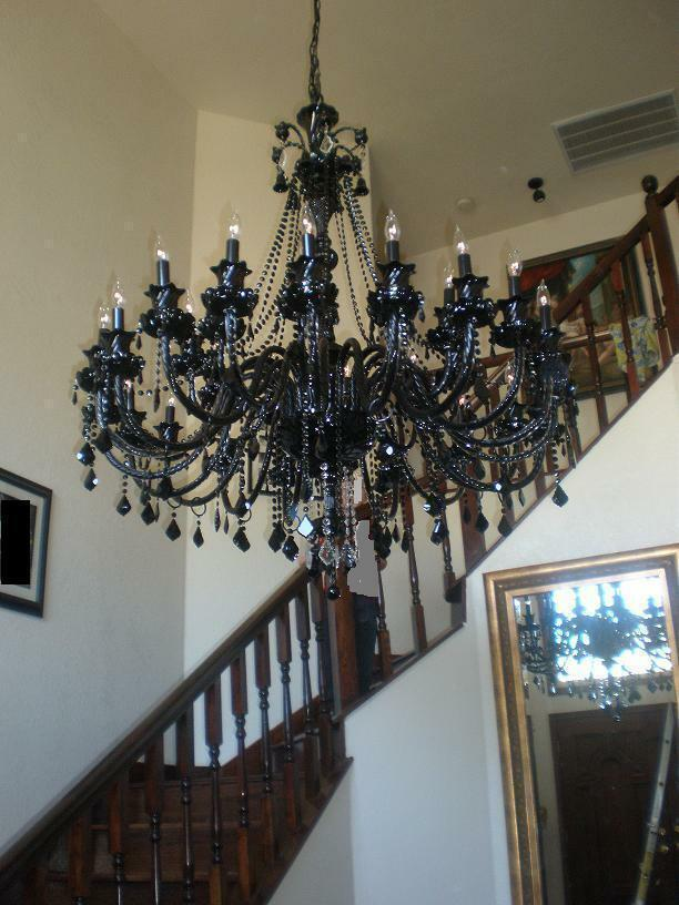 30 Light 52 Quot X46 Quot Very Large Black Crystal Chandelier