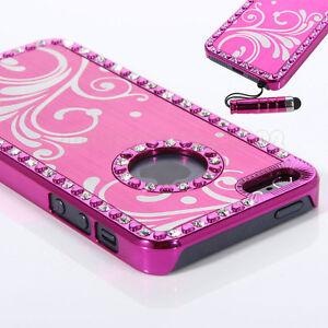 For-Apple-iPhone-5-Rose-Red-Bling-Diamond-Aluminum-Flower-Hard-Case-Cover-Pen