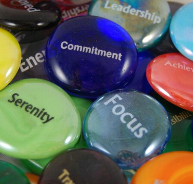Colored Glass Focus Imprinted Stones - Words E thru H