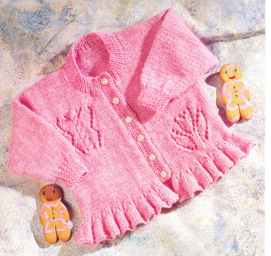 Flower & Butterfly Baby Cardigan with Ruffle Edge DK Knitting Pattern 16&...