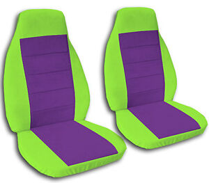 2 Front Lime Green Seat Covers With A Purple Insert