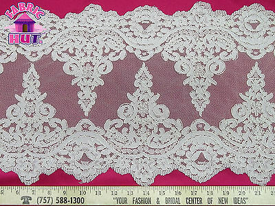"""12"""" Wide Ivory Alencon Remembrance Re Embroidered Lace Border Trim  By The Yard"""