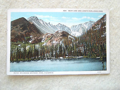 BEAR LAKE & LONG'S PEAK,ESTES PARK,ROCKY MOUNTAIN NATIONAL PARK,CO-EAR 1900'S PC