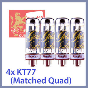 4x-NEW-Genalex-Gold-Lion-KT77-Power-Vacuum-Tubes-EL34-6CA7-Matched-Quad-TESTED