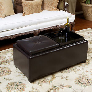 contemporary rectangular storage ottoman leather 2 tray top coffee table ebay. Black Bedroom Furniture Sets. Home Design Ideas