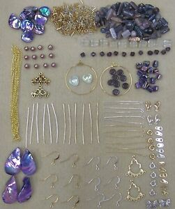 New-Purple-Bead-Kit-with-Silver-Gold-Tone-Findings-Free-Beading-Instructions