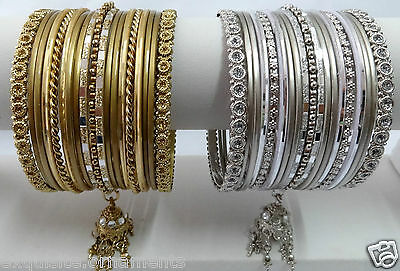 Indian Bollywood Ethnic Wedding bangles bracelet Jewelry Antique Gold and Silver