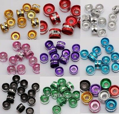 300pcs 6mm Lots Aluminum Tube Spacer Beads Silver/Black/Blue 9 colors to Pick