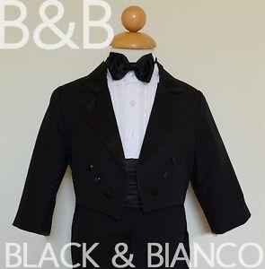5-Piece-Kids-Boys-BLACK-Formal-Set-Tuxedo-with-TAIL-Bow-Tie-Size-2-3-4-5-6-7