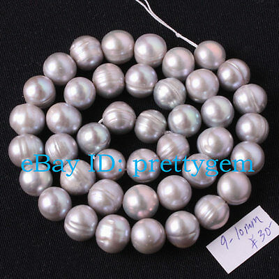 9-10mm Natural Gray Freshwater Cultured Pearl Gemstone Beads Spacer Strand 15""