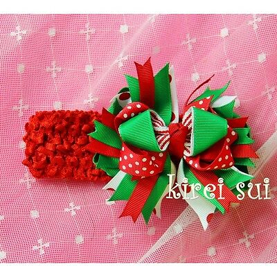Baby Girls Xmas Red Green White Polka Dots Hair Bow with Red Headband
