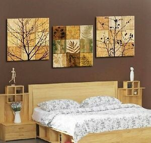 Tree-Leaves-amp-Branches-Modern-Decor-Wall-Clock-On-Triptych-Canvas-Prints-FRAMED