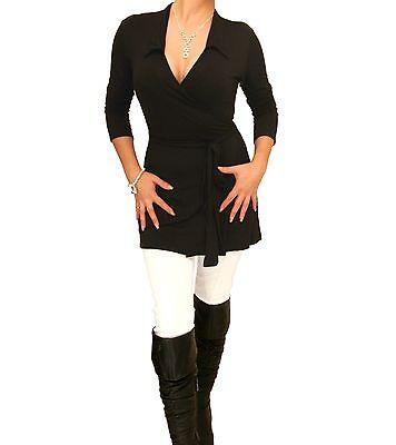 New Black Tunic Wrap Top - Long Sleeve