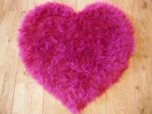 Fluffy Pink Kids Bedroom Rugs Washable Mat Girls Heart Shape Rug ...