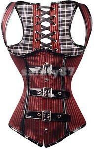 Sexy-Black-Red-Stripe-Underbust-Waistcoat-Corset-Basque-PVC-Buckles-Steampunk