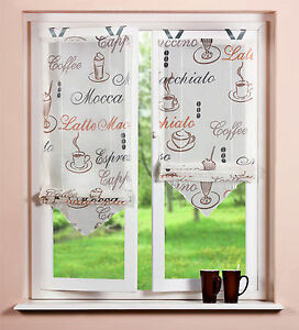 bedrucktes raffrollo kaffee transparent creme k chengardine 45 65 80x140cm ebay. Black Bedroom Furniture Sets. Home Design Ideas