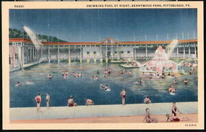 Pittsburgh Pa Kennywood Park Vintage Swimming Pool Night