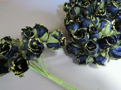 144 Poly Silk Rose Vintage Flower/Wire Stem/Bouquet/wedding favor/Gold H186-Navy