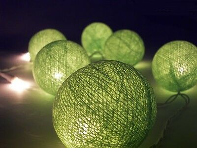 20 Spring Greens Ball Fairy lights 6cm diameter LED battery Power 2m long Decor