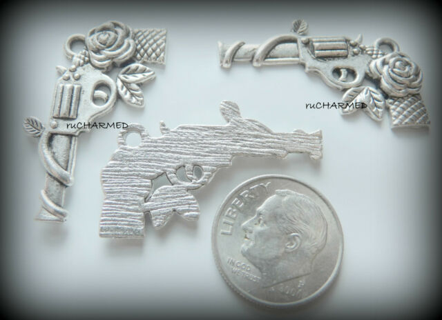 6pc Revolver Gun with Rose Pendant Charms - Rocker Lady Biker Punk Pistol