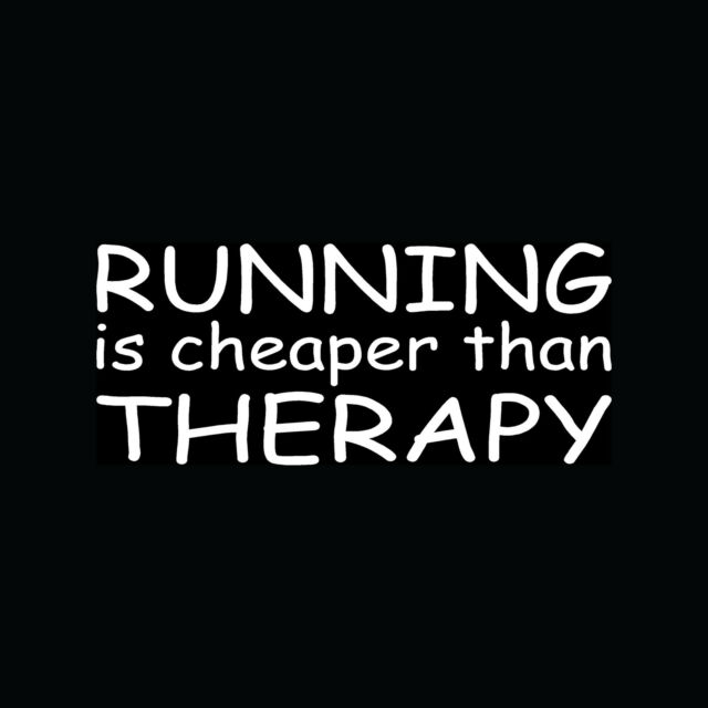 RUNNING IS CHEAPER THAN THERAPY Sticker Vinyl Decal Marathon 26.2 Fitness 13.1